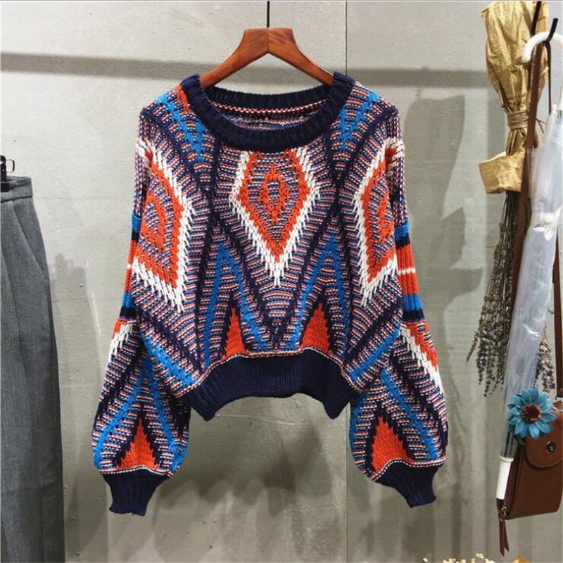 2020 Autumn And Winter New Hit Color Flower Line Geometric Pullover Sweater Female Short Bubble Sleeve Round Neck