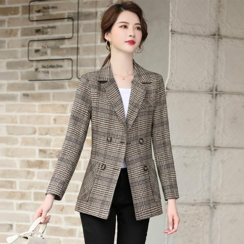 High quality fabric women's blazer feminine 2020 New Fashion Slim Check Ladies Jacket Coat Female temperament small suit