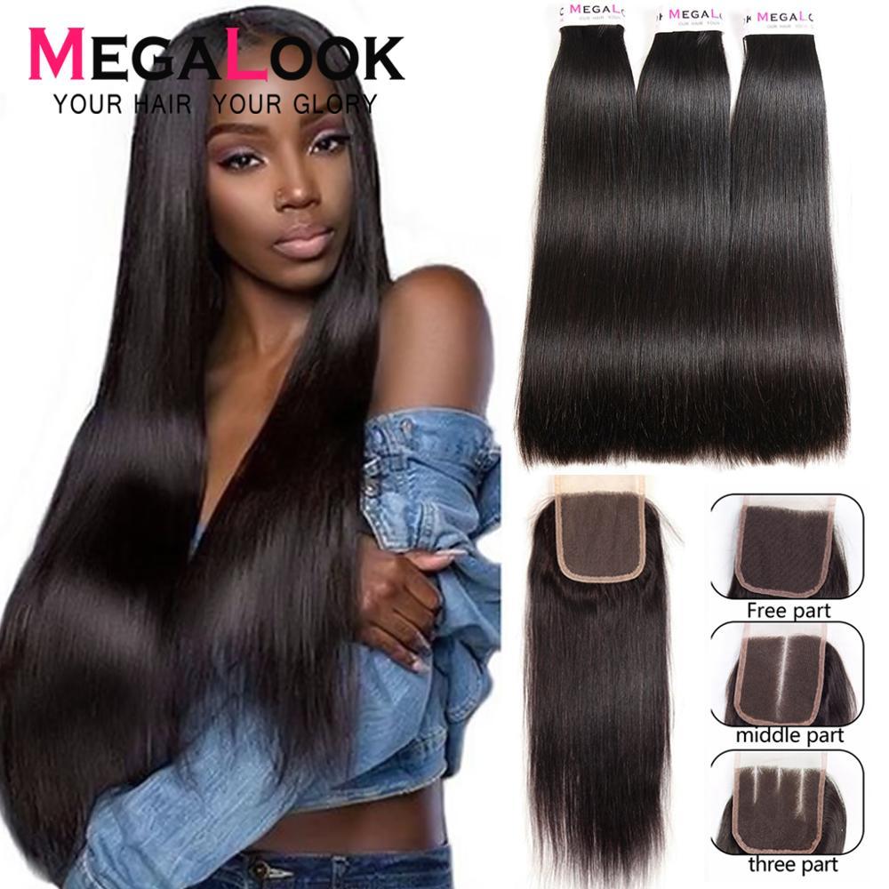 Straight Hair Bundles With Closure Super Double Drawn Megalook Virgin Hair Brazilian Hair Human Hair Bundles With Closure 3 4