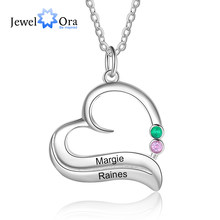 JewelOra de plata personalizada Color de corazón de piedra Collar personalizado 1-3 nombre grabado collar con colgante exclusivo, Regalo para mamá