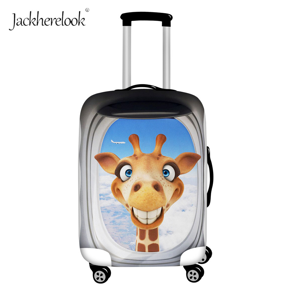 Jackherelook Funny Giraffe Out Windows Cover Suit For 18-32 Inch Luggage Bag Travel Suitcase Elastic Case Luggage Bag Covers