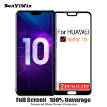 2PCS 100% Original Full Cover Tempered Glass for Huawei Honor 10 Screen Protector on Protective Glass For COL AL10 L09 L29 Film