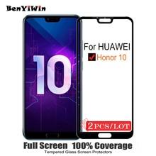 2PCS 100% Original Volle Abdeckung Gehärtetem Glas für Huawei Honor 10 Display schutz auf Schutz Glas Für COL AL10 l09 L29 Film