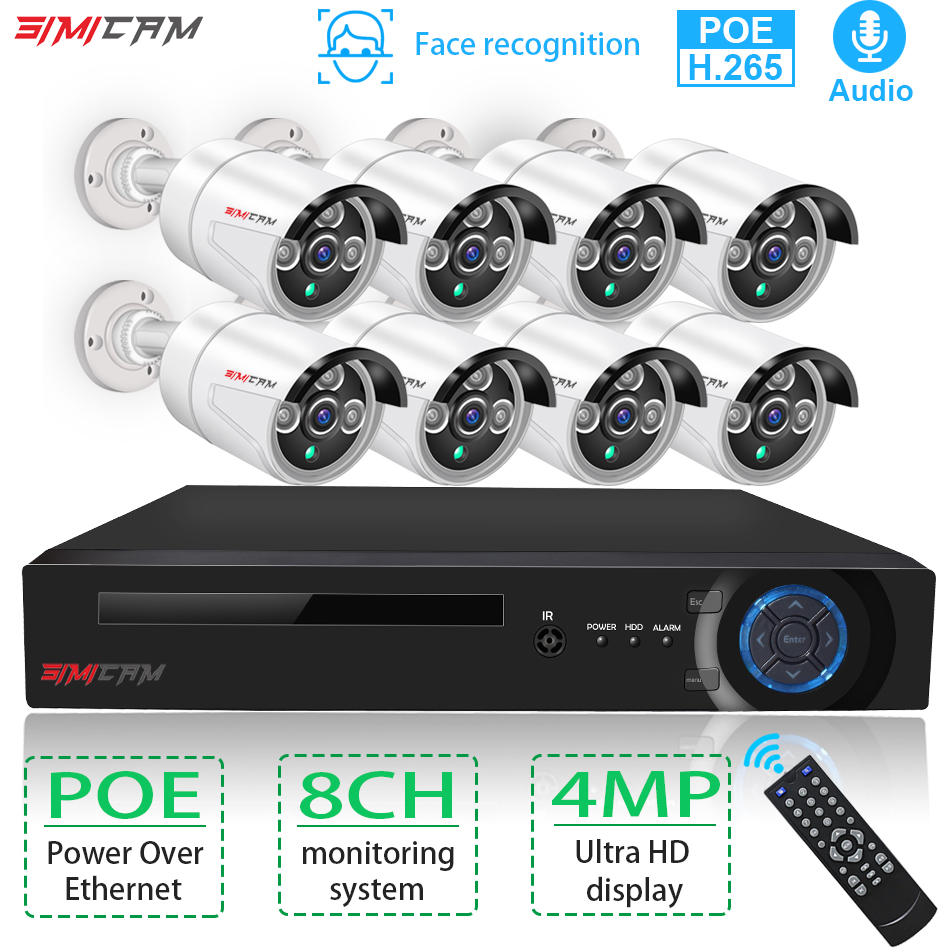 H.265 8CH 4MP 2K POE NVR Security Camera System Kit Audio Record IP Camera IR Outdoor Waterproof CCTV Video Surveillance NVR Set