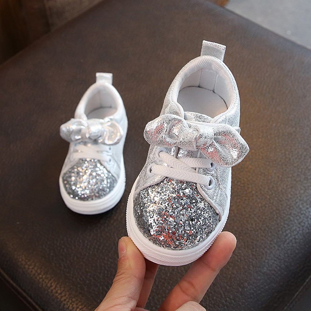Children Baby girls Boys Bling Sequins Bow-knot Crystal Run Sport Sneakers Shoes Breath Soft Hook & Loop Comfort Children Shoes