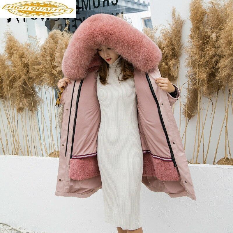 Real Fur Coat Women Rex Rabbbit Fur Coat Winter Coat Women Clothes 2019 Fox Fur Collar Real Fur Warm Parka Jj0086 YY1825