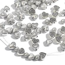 20-50Pcs Ancient Silver Plated 3.5mm thickness Flat Heart Shape Beads For Jewelry Making Accessories 6 7 8 9 10mm Pick Size