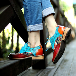 Image 4 - Women Genuine leather brogue casual designer vintage Retro lady flats shoes handmade oxford shoes for women blue 2020 spring