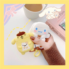 3D Cute Cartoon Sanrio Pudding Cinnamon Dog Earphone Case for Apple Airpods 1 2 Accessories Protect Cover with Finger Ring Strap