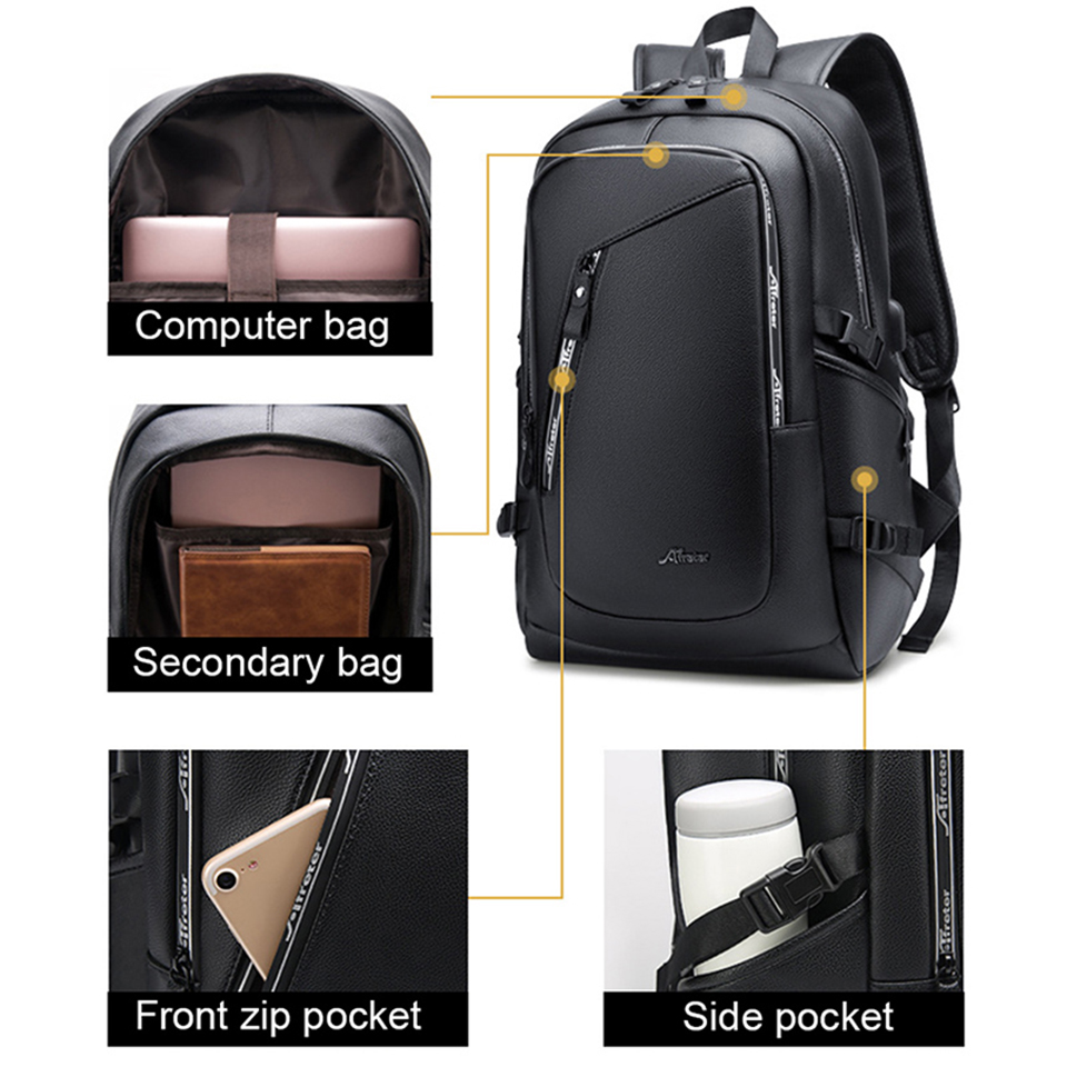 Image 2 - Leather Backpack PU Travel Men Laptop Back Pack 15.6 Inch 
