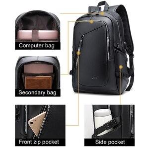 Image 2 - Мужской водонепроницаемый рюкзак из ПУ кожи, с USB зарядкой