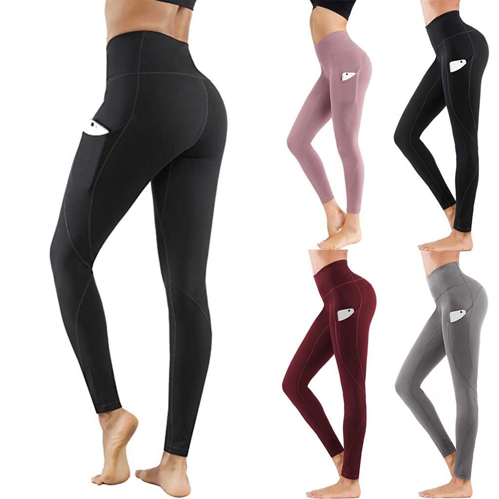 Fitness Leggings Women's Sheath Yoga Pants Elastic Waist Long Trousers with Pocket Slim Sport Pants Outdoor Running Pants