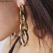 Salircon Steampunk Metal Chunky Chain Drop Earring For Women Girl Gold Color Long Link Chain Dangle Earring Brinco Party Jewelry transgems 14k 585 white gold 1 5mm f color moissanite drop earring for women engagemet anniversary party dangle ladies earring