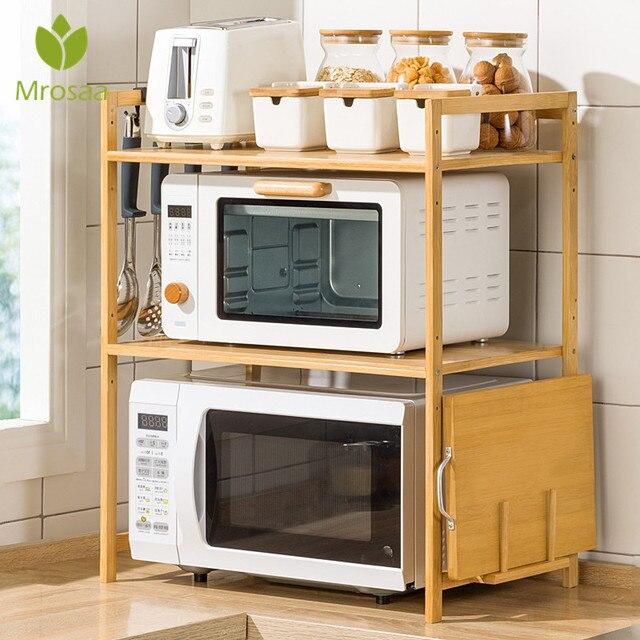 2-Tier Bamboo Microwave Shelf Height Adjustable Rack Kitchen Shelf Spice Organizer Kitchen Storage Rack Kitchenware Holder