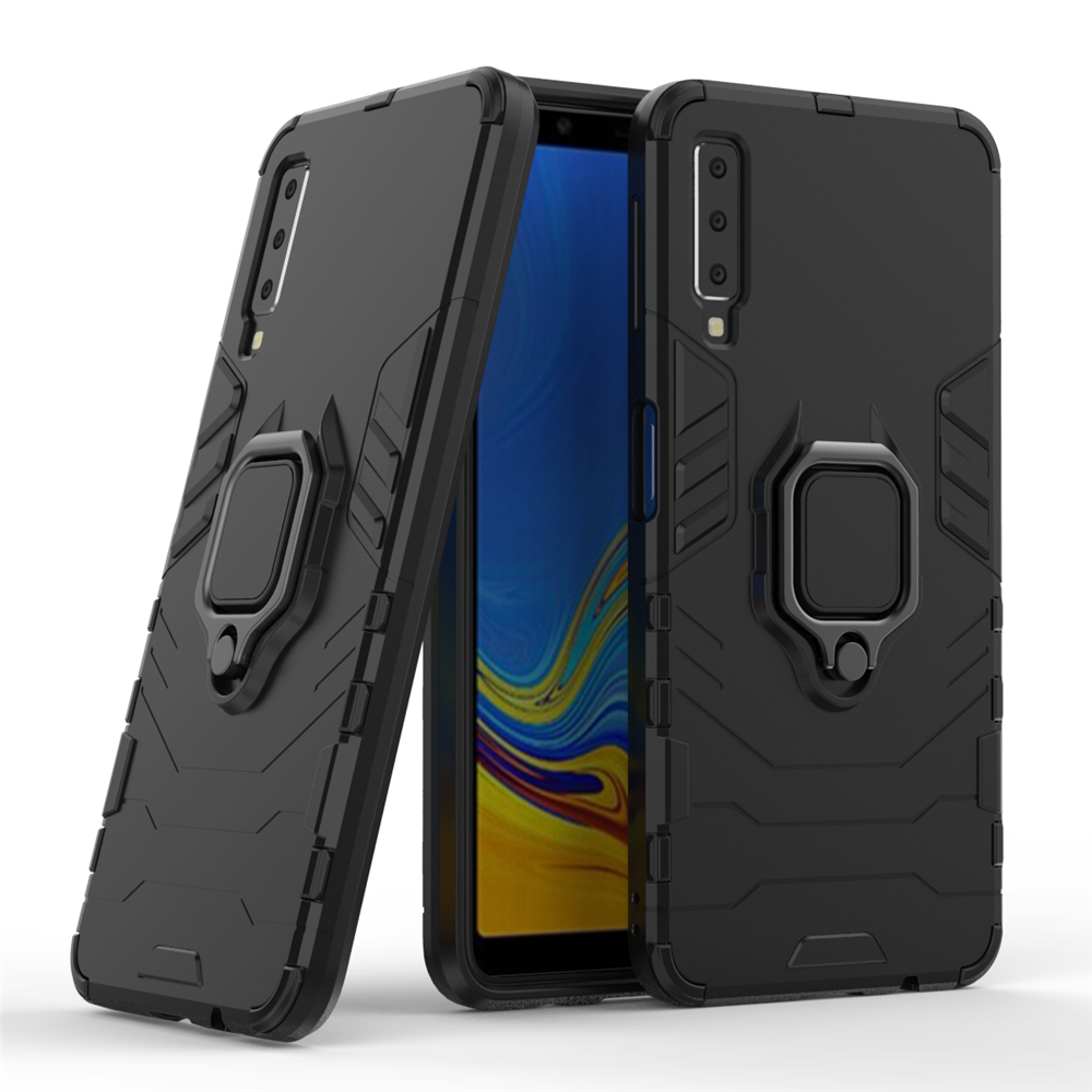 For <font><b>Samsung</b></font> Galaxy A7 <font><b>2018</b></font> Case Armor PC Cover Finger Ring Holder Phone Case For Galaxy <font><b>750</b></font> Case Durable Shockproof Bumper image