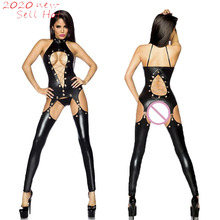 PU Bodysuit Costume Zentai Erotic Lingerie Wetlook-Jumpsuit Latex Faux-Leather Sexy Black