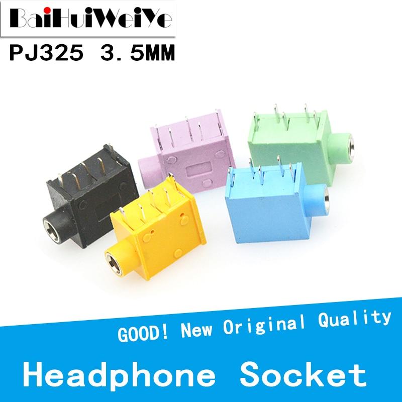10PCS/LOT Headphone Jack PJ-325 3.5MM Stereo Female Socket 3.5 Audio Earphone Connector PJ-325 Audio Jack Socket Multicolor