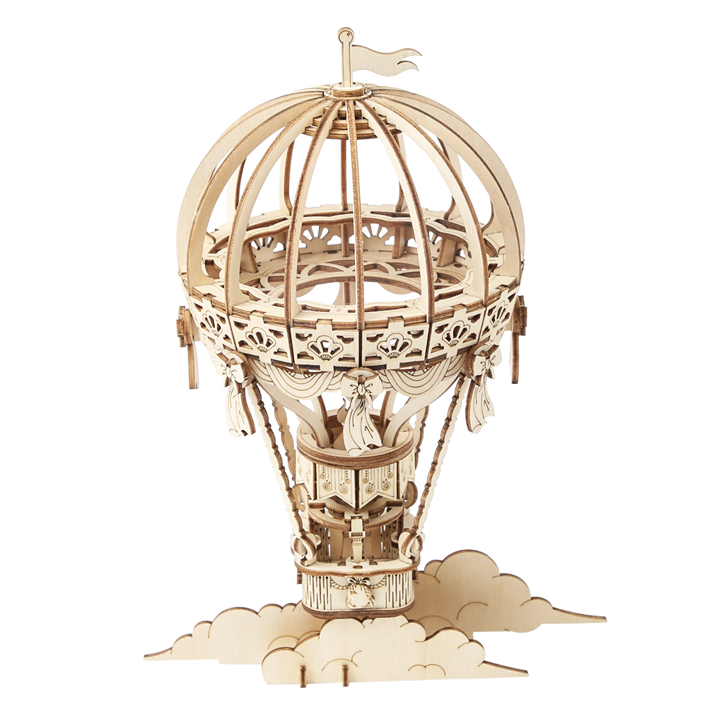 Robotime Self Assembly Mechanical Gear Model DIY Wood 3D Puzzle Toy Hot Air Ballon TG406(China)