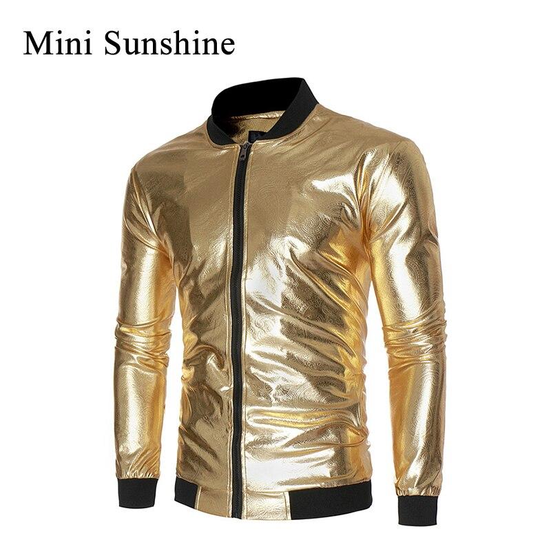 New Autumn Golden Jacket Men Luxury Shiny Jacket Fashion Nightclub Clothing Glittering Silver  Jackets Coat Rockabilly Z10