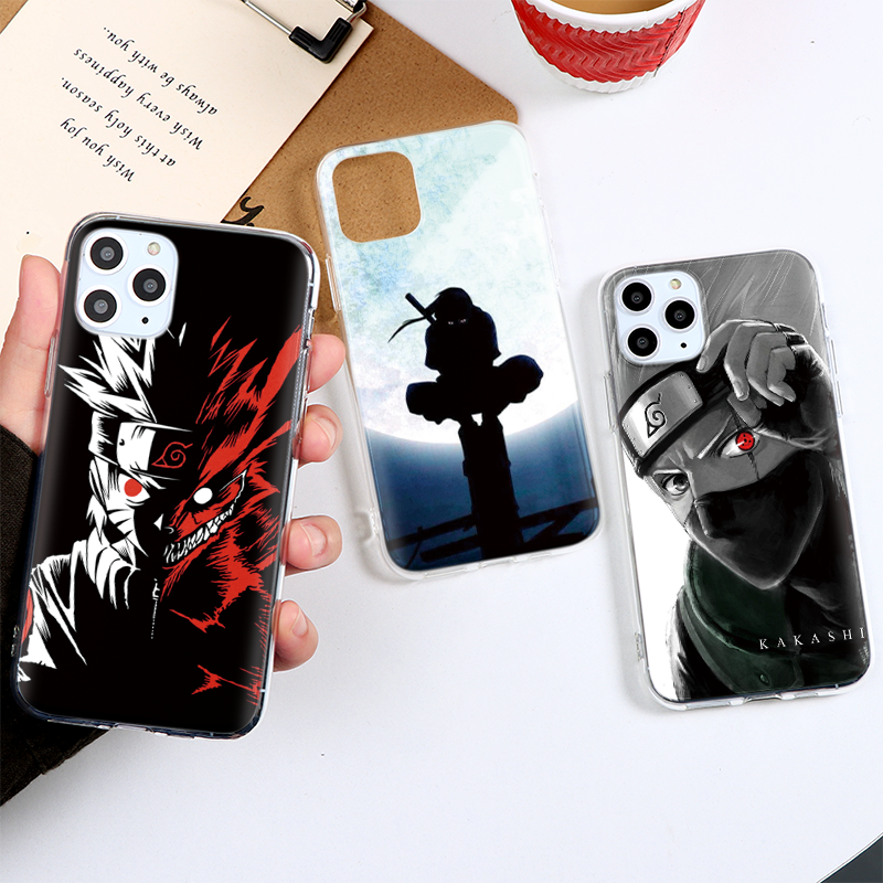 Cartoon Naruto Sasuke Kakashi <font><b>Case</b></font> <font><b>For</b></font> <font><b>iPhone</b></font> 12 11 Pro 11Pro XS Max X XR SE 2 2020 5 5S <font><b>4</b></font> 4S 5C <font><b>For</b></font> <font><b>iPhone</b></font> 7 8 6 6S Plus Etui image