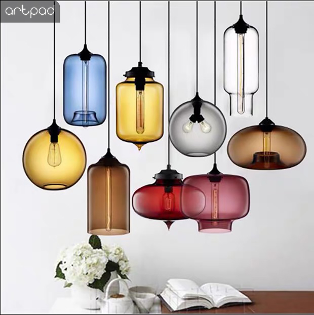 Artpad Northern Europe Small Colorful Glass Pendant Lamp kitchen Living Room Bar Coffee Home lightings Fixtures