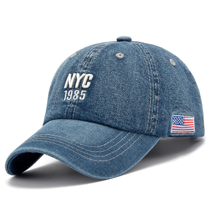 New Brand <font><b>NYC</b></font> Denim Baseball Cap Men Women Embroidery Letter Jeans Snapback Hat Casquette Summer Sports USA Hip Hop Cap Gorras image