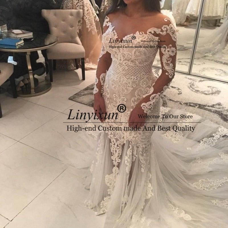 Custom Made Wedding Dresses Mermaid Long Sleeve Big Train Lace Tulle Pearls Sexy Vintage 2020 Wedding Gown Robe De Mariee
