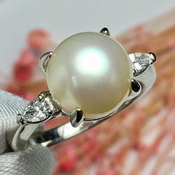 Настоящее Pt850 100% натуральные бриллианты и японское происхождение Akoya жемчуг 9,7 мм женские тонкие кольца для женщин ювелирные изделия