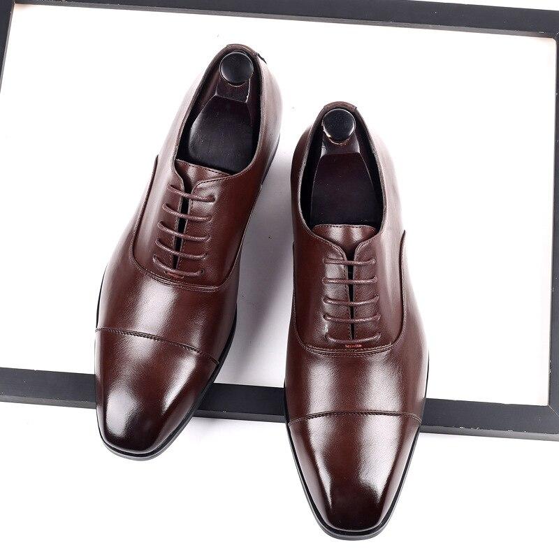 Men's Dress Shoes Square Toe Gentlemen Leather Shoes Trendy Business Style Slip On Fashion Men Shoes 2020 New