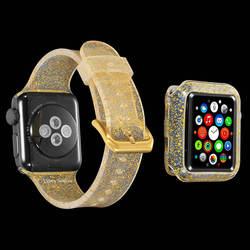 Bling мягкий силиконовый ремень для Apple Watch 38mm 42mm полосы Замена резины наручные часы для iwatch серии 4 3 2 1 40 мм 44 мм