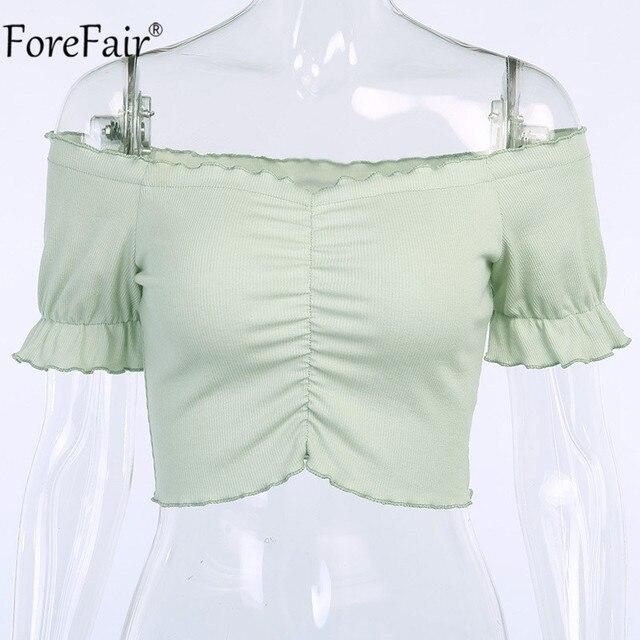 Forefair Off Shoulder Ruffles T Shirt Women Green Backless 2020 Summer Ruched Crop Top Short Sleeve Top Shirts
