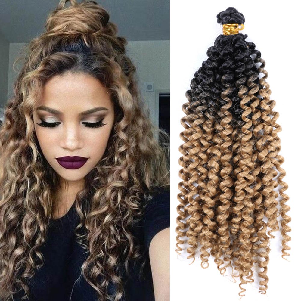 YunRong Ombre Color Water Wave Hair Bulk Synthetic Hair Extensions High Temperature Fiber Hair Bundles Curly Hair Bug/Gray/Black