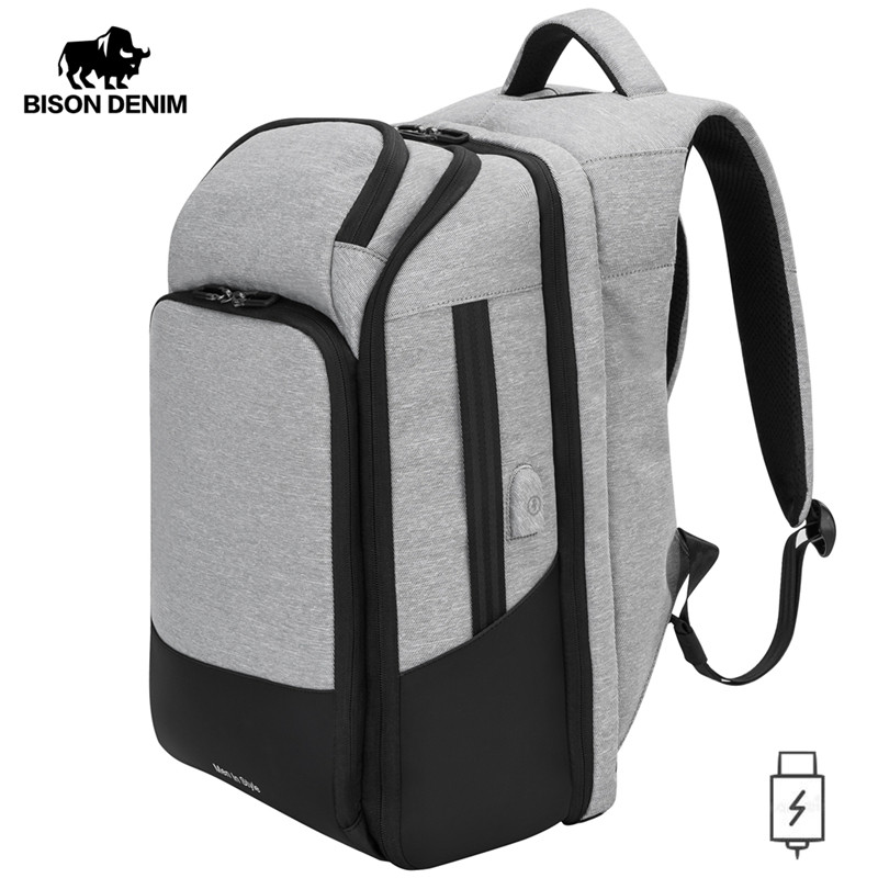 BISON DENIM Men's Backpacks 17 Inches Laptop Backpack For Teenager USB Charging Travel Bags Mochila Anti Theft School Bag N2765