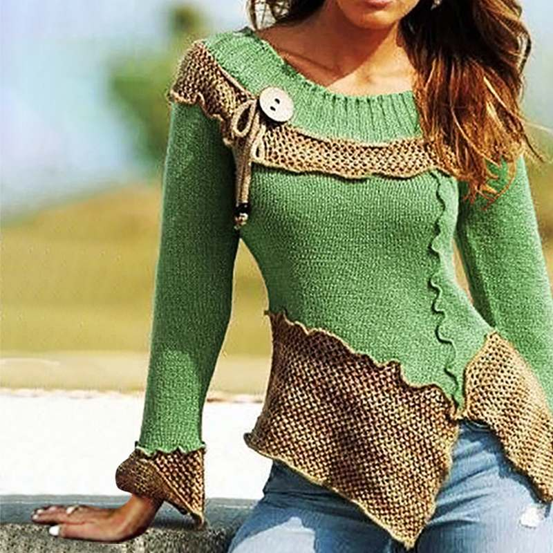 Spring Fashion Patchwork Pullover Women Casual Long Sleeve Blouse Autumn Button Slim Knit Tunic Tops Female Pull Blusas Jumper