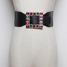 Fashion Colorful Rhinestone Square Buckle Belts for women Punk Leather Elastic Wide off belt for Dress Waistband Accessories(China)