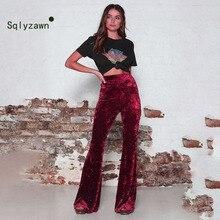 Autumn Winter Velvet Long Flare Pants Women Korean Streetwear Sexy High Waist Trousers Casual Velour Red Black Bell Bottom Pants