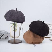 2019 new beret ladies autumn and winter Korean fashion wild woolen hat retro British octagonal men women