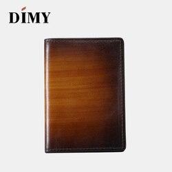 DIMY hecho a mano italiano de cuero genuino de los hombres de la moda de crédito de la tarjeta de Banco billeteras pequeñas Epure scrotto titular de la tarjeta de visita de cuero