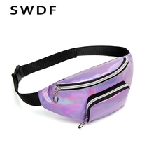 SWDF New Purple Pink Fanny Pack Womens Belt Bag PVC Waist Purse Female Banana Bags Holographic Colored Chest Phone Pouch
