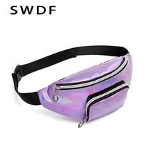 купить SWDF New Purple Pink Fanny Pack Women's Belt Bag PVC Waist Bag Purse Female Banana Bags Holographic Colored Chest Phone Pouch дешево