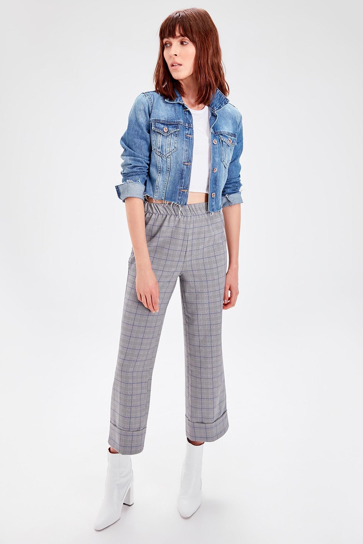 Trendyol Mavi Turnup Striped Pants TWOAW20PL0264
