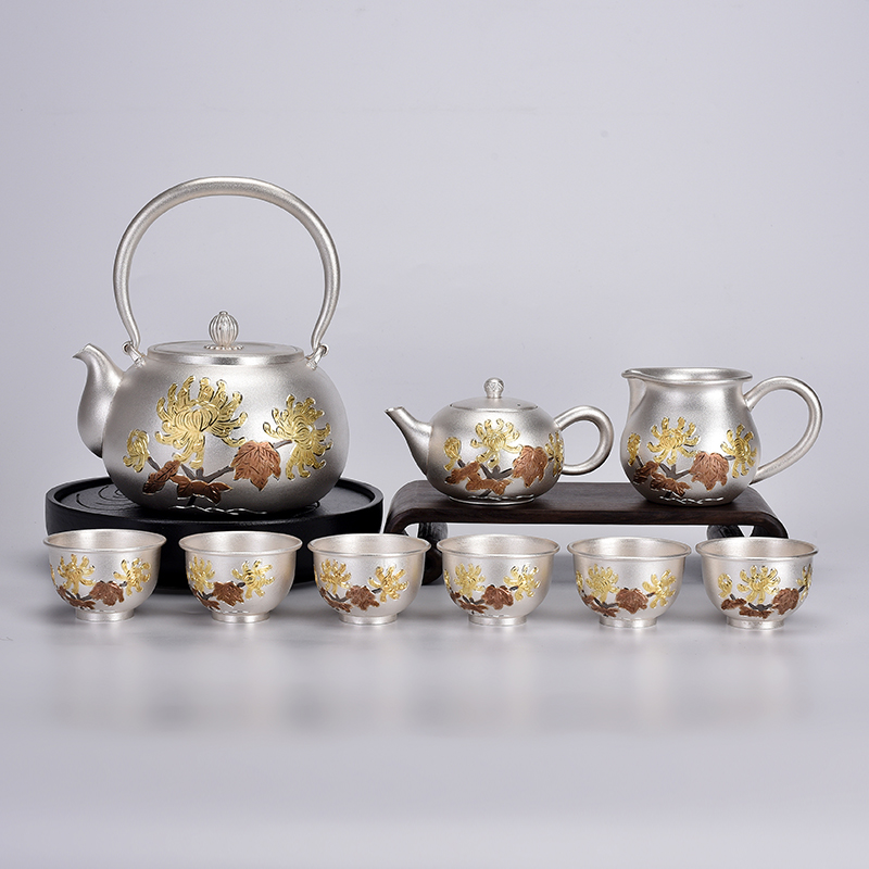 999 Sterling Silver Tea Set Full Set Of Home Silver Pot Gold-plated Chrysanthemum Teapot Kung Fu Tea Ceremony Kettle Teapot