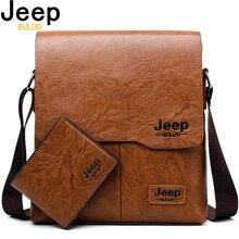 Мужская сумка-тоут, набор JEEP BULUO, известный бренд, новая модная мужская кожаная сумка-мессенджер, мужская сумка через плечо, деловые сумки для мужчин