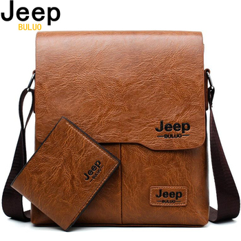 Men Tote Bags Set JEEP BULUO Famous Brand New Fashion Man Leather Cross Body Shoulder Business Bags