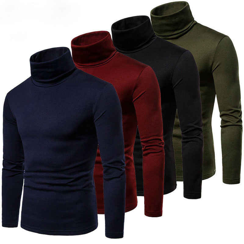 Fashion Men's Casual Slim Fit Basic Turtleneck Sweater Knitted Sweater Turtleneck Pullover Male Double Collar Free shipping Tops