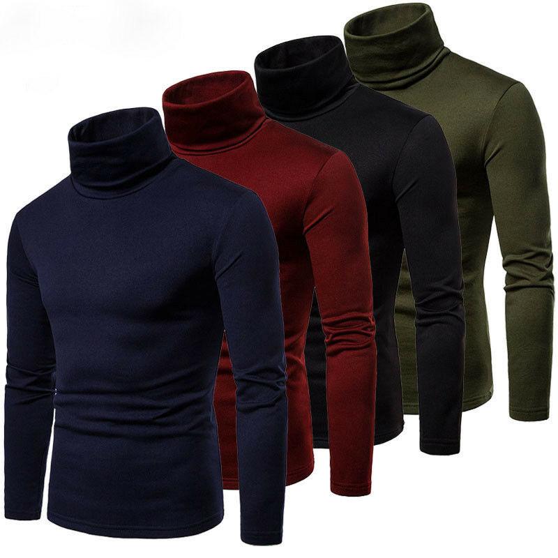 Модный мужской повседневный облегающий базовый свитер с высоким воротником, вязаный пуловер с высоким воротником, мужские топы с двойным в...