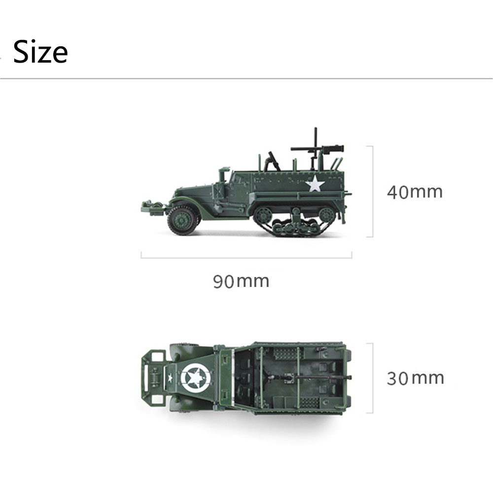 1:72 4D M3 Half-Track Armored Vehicle Assembly Model Toy 10Pcs Soldiers Model