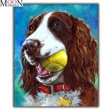 Новый 5d diy Алмазная картина собака укуса мяч вышивка крестиком
