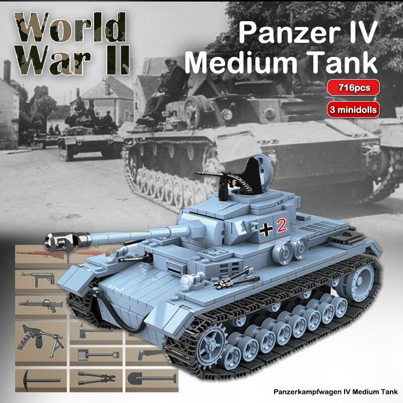 Военный панзер IV Midium Танк набор кирпичей WW2 строительные блоки солдат оружие армейское модели Дети DIY игрушки для детей Подарки