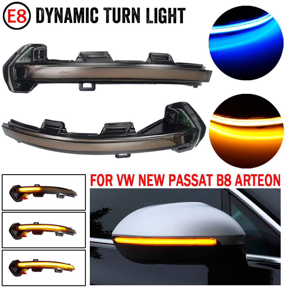 2 pçs carro dinâmico led turn signal light espelho retrovisor indicador blinker para vw passat b8 arteon 2015 2016 2017 2018 2019|Lâmpada de sinal|   -